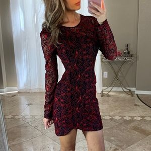 Parker Red Black Floral Lace Long Sleeve Dress M
